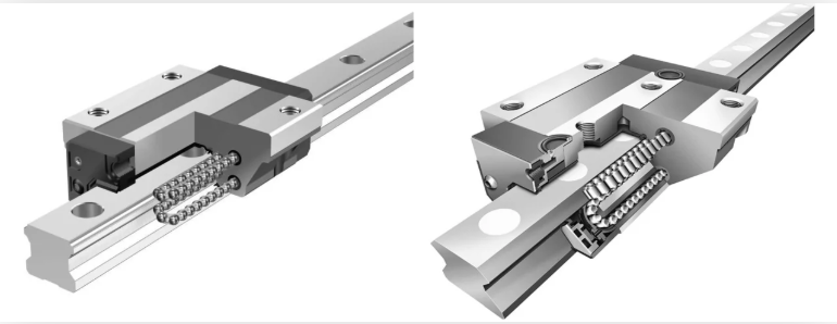 A cut-away depiction of a linear rail and its recirculating ball bearings. Source: Linear Motion Tips